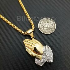 """Stainless Steel Gold PT Praying Hands Pendant & 24"""" Round Box Chain Necklace"""