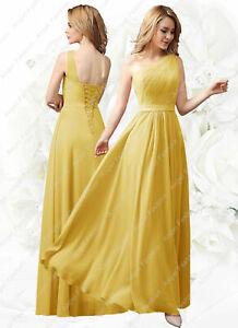 One strap Chiffon Floor Length Bridemaid Prom Party Evening Dress