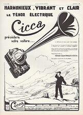 PUBLICITE  CICCA AVERTISSEUR PAYS BASQUE BERET PAU BORNE KILOMETRIQUE  AD  1926