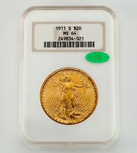 1911-S $20 St. Gaudens Gold Double Eagle Graded by NGC as MS-64 w/ CAC