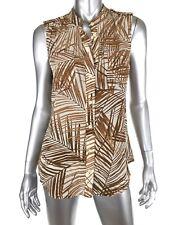 Banana Republic Womens Silk Safari Top 6 Brown Sleeveless Button Up Pockets