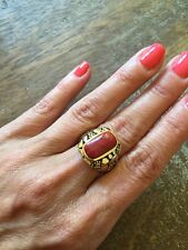 """NEW """"designer inspired"""" Red Coral Ring w cable & hammered 2 tone detail Size 8"""