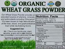 1 POUND Organic Whole Leaf Wheat Grass Wheatgrass Powder Bulk Raw Vegan GMO Free