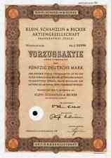 Klein Schanzlin Becker 1967 KSB Frankenthal Pegnitz Nürnberg 50 DM Vorzugsaktie