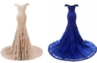 Women's Off Shoulder Gown Beading Evening Dress Mermaid Lace Long Prom Dresses