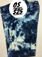 Lularoe OS Blue And White Tie-dye Leggings BRAND NEW FREE SHIPPING