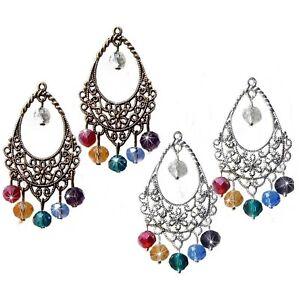 Earrings, chandelier, Chakra Rainbow crystal, choose clip on or pierced