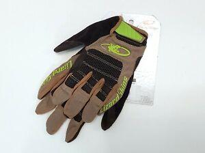 Lizard Skins Monitor AM Full Finger Bike MTB Cycling Gloves Brown Green Small