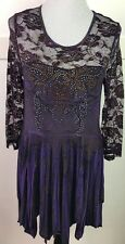 Pyramid Collection Purple Dress Net Overlay Rhinestone Sublimation Size Medium