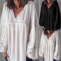 ZANZEA Women Lantern Sleeve Casual Shirt Tops Deep V Loose Lace Detail Blouse