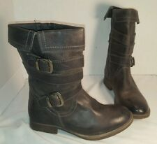 NEW WOMEN'S ROAN FOLD OVER BLACK DISTRESSED LEATHER ANKLE BOOTS WESTERN US 7