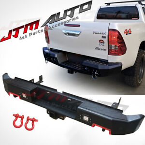 Heavy Duty Black Steel Rear Step Bar Tow Bar to suit Toyota Hilux N80 2015-2021