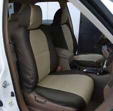 ACURA MDX 2002-2006 BLACK/BEIGE S.LEATHER CUSTOM MADE FIT FRONT SEAT COVER