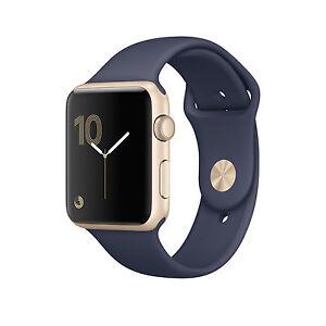 NEW Apple Watch 42mm Gold Aluminum Midnight Blue Sport Band A1803 MQ122LL/A
