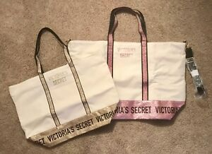 Victoria/'s Secret Sparkle Canvas Tote Zippered Bag Pink Rose Gold Striped NWT