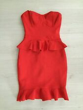 PRETTY LITTLE THING RED SPECIAL OCCASION PEPLUM BODYCON FRILL HEM DRESS SIZE 4