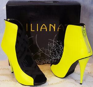 "LILIANA yellow RIVA 3 peeptoe CRISS CROSS straps 4.5"" STILETTO heels BOOTIES 6.5"