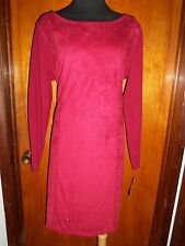 INC International Concepts Red Lace Up Faux Suede Moleskin Knit Sweater Dress 0X