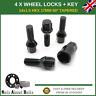Black Locking Wheel Set 4 + Key M14X1.5 Nuts For Vauxhall Vivaro
