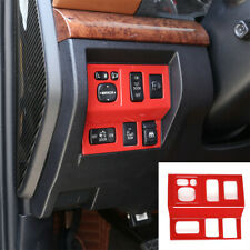 For Toyota Tundra 2014-2021 Red ABS Interior Headlight Switch Button Cover Trim