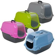 More details for large pet cat toilet litter hooded tray box loo swing door portable carry handle