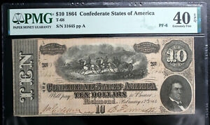 T-68 1864 $10 Ten Dollar CSA Confederate Note  PMG 40 EPQ Extremely Fine  NICE!!