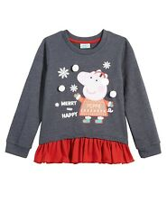 Peppa  Pig Girl's Contrast Hem Holiday Christmas Top Size 6X