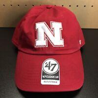'47 Brand Nebraska Cornhuskers Clean Up Adjustable Strapback Hat Cap Red NEW