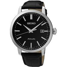 SEIKO MEN'S CLASSIC 42MM BLACK LEATHER BAND STEEL CASE AUTOMATIC WATCH SRPA27