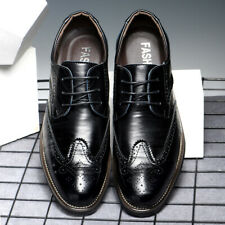 Mens Leather Hollow Business Shoes Lace up Loafers  Breathable Casual Oxford
