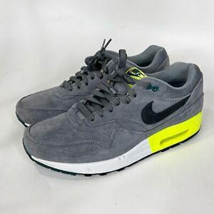 Nike AIR MAX 1 Premium Men's Size 9 Cool Grey Volt Suede Pine Casual 512033-007