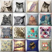Vintage Owl Linen Pillow Case Sofa Waist Throw Cushion Cover Home Decor Gift CA