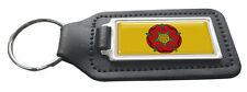 Lancashire County Flag Rectangle Black Leather Keyring