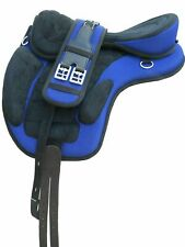 "NEW All Purpose Treeless Horse Cob Saddle Blue/Black Light Weight 16"" Free Girth"