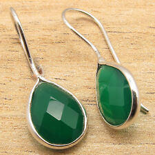 Natural GREEN ONYX Gems Women's Girls Fashionable Earrings ! 925 Silver Plated