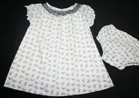 Baby Gap Smocked Dress Ivory Black Girl Size 6-12 Months So Sweet!