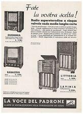 PUBBLICITA' 1938 RADIO LA VOCE DEL PADRONE GUIDONIA SABAUDIA LITTORIA LAVINA