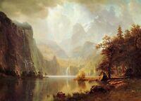 Dream-art Oil painting In the Mountain sunrise landscape Albert Bierstadt canvas