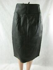 Newport News Long Black Leather A-Line Skirt Size 10 NWT