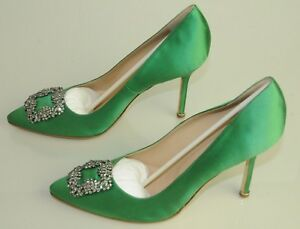 NEW MANOLO BLAHNIK HANGISI LIME GREEN Satin JEWELED Pumps SHOES 41 40.5 40