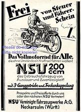 Motorrad NSU 200 ccm Reklame von 1929 Führerscheinfrei Steuerfrei Werbung +