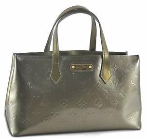 Authentic Louis Vuitton Vernis Wilshire PM Hand Bag Green Khaki LV C0901