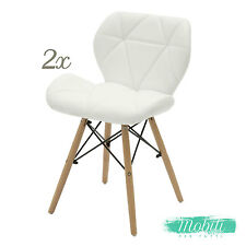 Sedia Design Moderna in Ecopelle Bianca da Studio - 2 Pezzi SPEDIZIONE GRATUITA