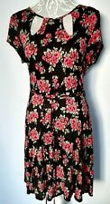 Tea Dress UK 12 Black with Red Floral Jersey with Tie Belt Cap Sleeve Round Neck