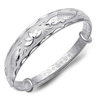 Silver New Lovely Fish and Lotus Flower Women's Adjustable Bangle Bracelet OZ