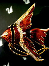 SIGNED SWAROVSKI PAVE CRYSTAL ANGLE FISH PIN ~BROOCH RETIRED RARE NEW CONDITION