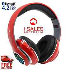 Wireless Bluetooth Stereo Music Adjustable Headphones Headsets FM Radio MP3 Red
