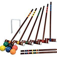 Croquet Set Vintage Wooden Game Backyard Six Player Transport Carry Bag Storage