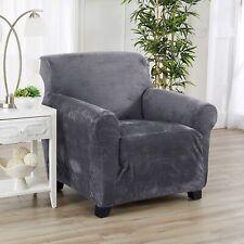 Great Bay Home Magnolia Collection Slipcover Arm Chair Gray Modern Velvet Plush