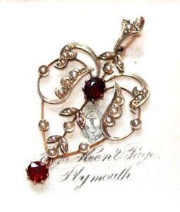 Edwardian Art Nouveau garnet & seed pearl 9 ct gold pendant antique